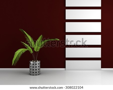 3d rendered interior composition with exotic decorative plant. - stock photo