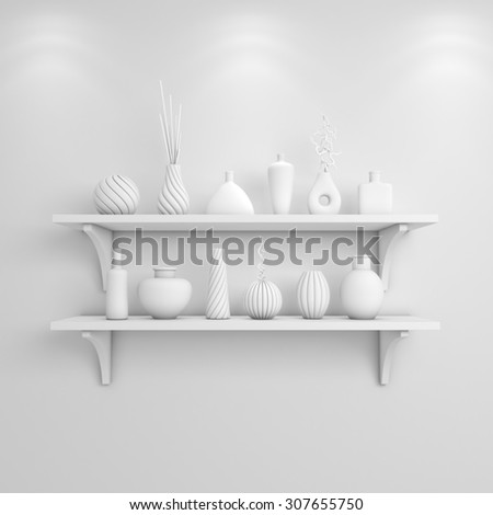 3d rendered interior composition with simple shelves on a wall.
