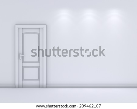 3d rendered interior composition with white door.