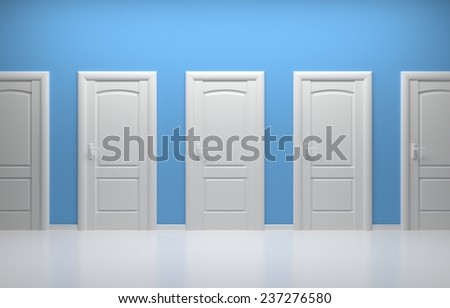 3d rendered interior composition with white doors. - stock photo