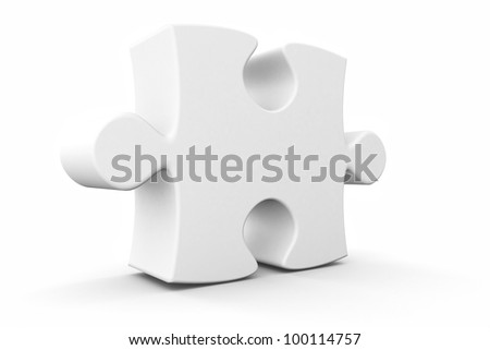 3d rendered isolated puzzle piece standing tall