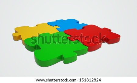 3d rendered Jigsaw Puzzle on a light grey background - stock photo