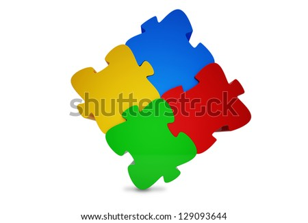 3d rendered Jigsaw Puzzle on whitebackground - stock photo