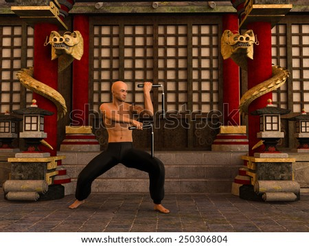 3D rendered Kung Fu monk in action pose with nunchaku in temple - stock photo