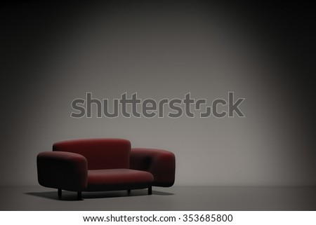 3d rendered leather sofa with blank space