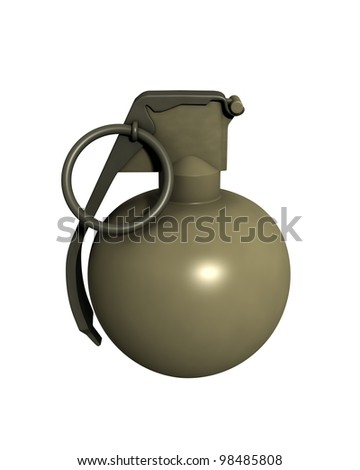 3D Rendered M67 Grenade on a White Background - stock photo