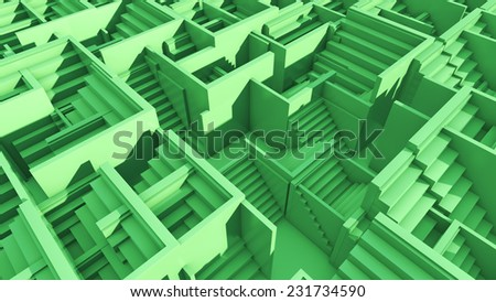3d rendered maze made of ladders - stock photo