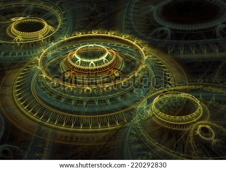 3D rendered mechanical background - stock photo
