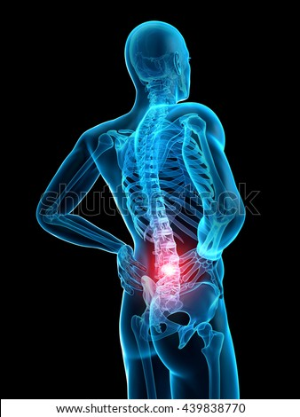 3d rendered, medically accurate 3d illustration of the highlighted spine - stock photo