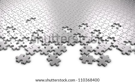 3D rendered Metal jigsaw puzzle pieces. - stock photo
