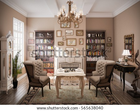 classic living room. 3D Rendered Modern Classic Living Room Interior Design 3 D Stock Photo  Royalty Free