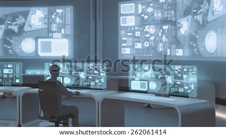 3D rendered modern, futuristic command center interior  with people silhouettes - stock photo