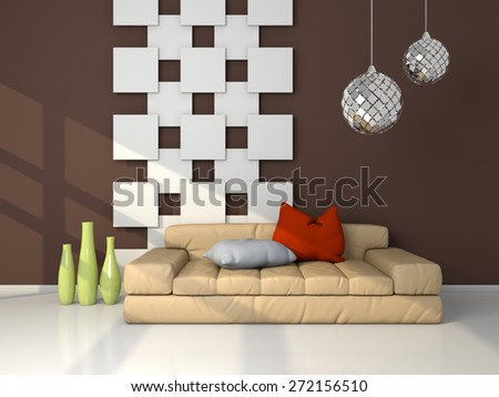 3d rendered modern interior composition with couch and decorations. - stock photo