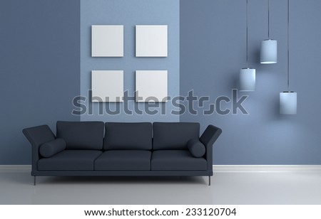 3d rendered modern interior composition with sofa and pictures on wall. - stock photo