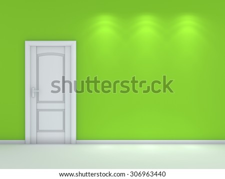 3d rendered modern interior composition with white door. - stock photo