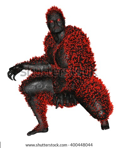 3D rendered monster on white background isolated - stock photo