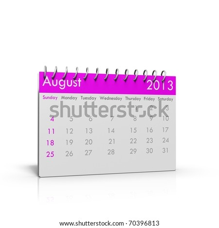 3d rendered Monthly calender of 2013 with spiral on top and square corners