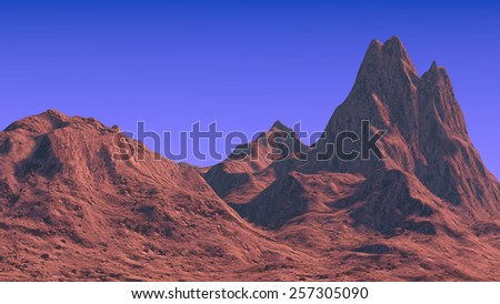 3D rendered mountain landscape - stock photo
