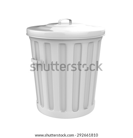 3D rendered of trash can on white background