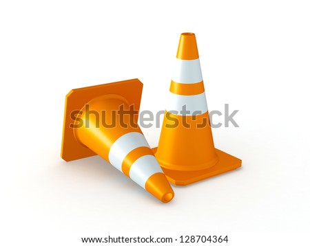 3D Rendered Orange Traffic Cones on White Background - stock photo