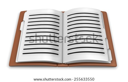 3d rendered paper notebook on white background, isolated - stock photo