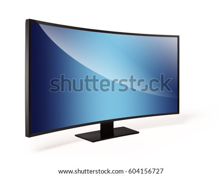 3d rendered personal computer semicircular monitor mockup on the white background