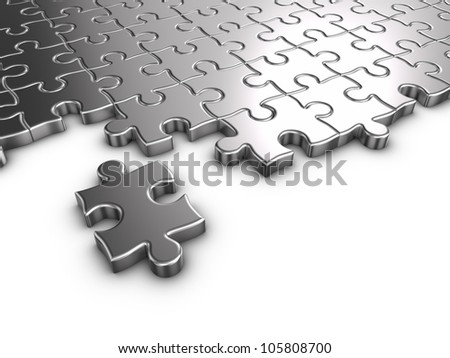 3D rendered puzzle on white background. - stock photo