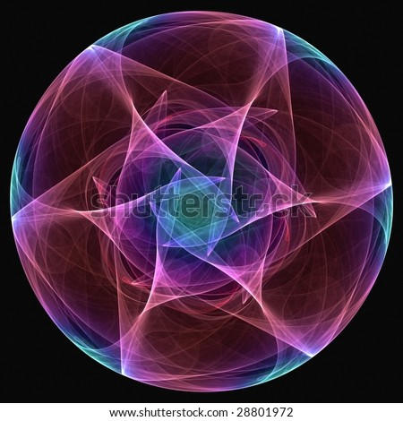 3D rendered random colorful gradient attractor, abstract background - stock photo
