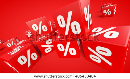 3D rendered red cubes labeled percent on red background.