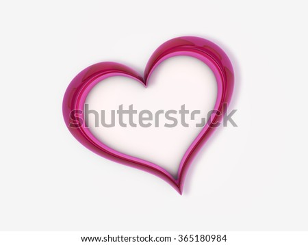 3d rendered red glass heart on white background, soft shadow - stock photo