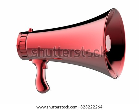 3d rendered red megaphone isolated on white