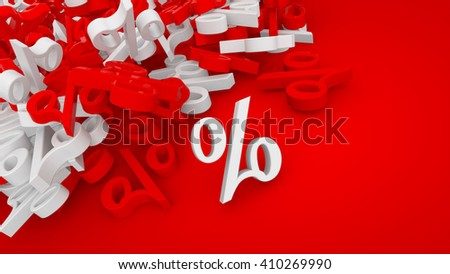 3D rendered red sale background with white and red percent symbols.
