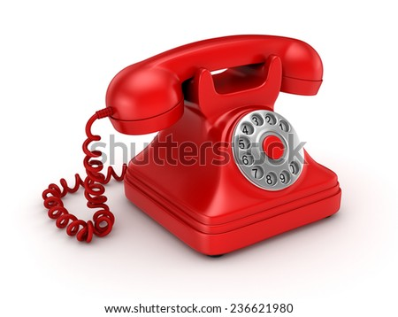 3d rendered retro telephone isolated on white background.