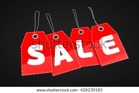 3D rendered SALE tag icon isolated on black background. Label Price tag.