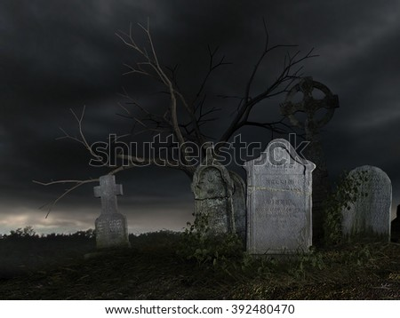 3D rendered scene of old dark cemetery at night - stock photo
