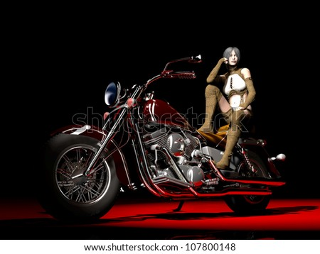 3D rendered Scene of the girl on motorcycle. Base 3 D model of the girl of the program are used �«Poser�»