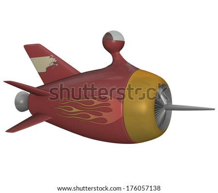 3D rendered sci-fi rocket on white background isolated - stock photo