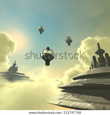 3D rendered scifi cloud city with clouds and space ship - stock photo