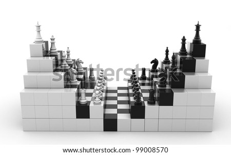 3d rendered Set of chess figures - stock photo