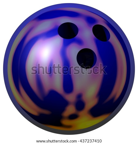 3D Rendered shiny blue bowling ball perfect for an icon or clip art. Isolated on a white background.