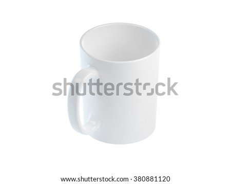 3D rendered shiny white mug on white surface. Isolated image with clipping path. - stock photo
