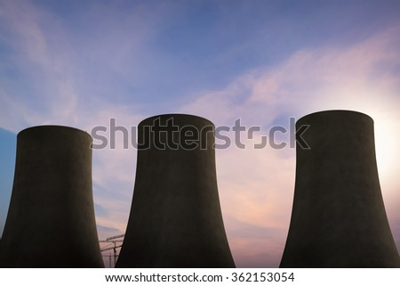 3d rendered silhouette nuclear power plant on sunset sky background