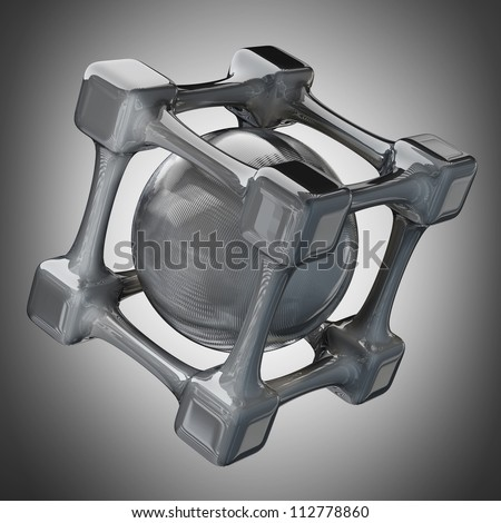 3D rendered silver glossy molecules structure  High resolution