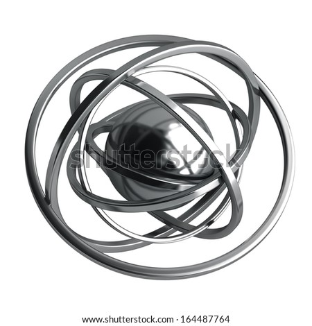 3D rendered silver glossy molecules structure isolated on white background High resolution 3d  - stock photo
