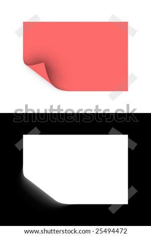 3d rendered slip of paper with opacity mask for easily use
