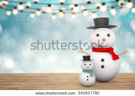 3d rendered smiling snowman with christmas background - stock photo