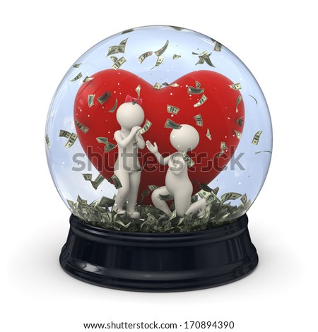 3d rendered snow globe with white characters - Marriage proposal with money falling at Valentines day - stock photo