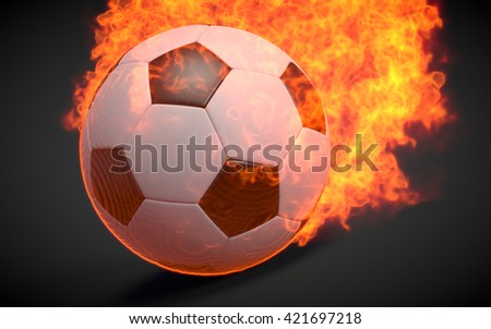 3D rendered soccer ball in fire on black background. - stock photo