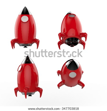3d rendered space shuttle on white background - stock photo