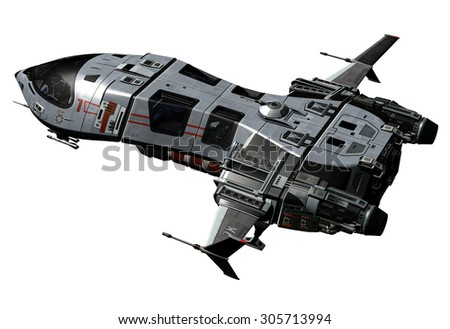 3D rendered Spaceship - stock photo